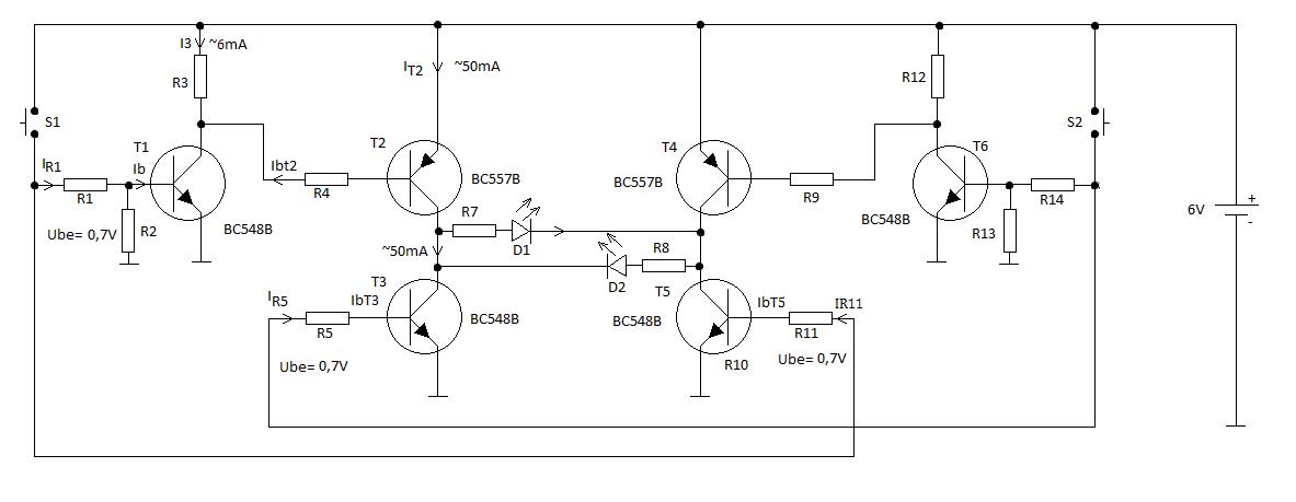 Ryc. 1 Schemat 2-przyciskowego sterownika diod LED.