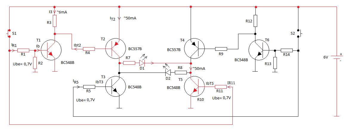 Ryc. 2 Schemat przedstawiający przepływ prądu (czerwona linia) po naciśnięciu przycisku S1.
